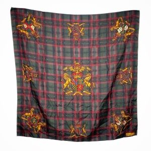 Ralph Lauren Crest Plaid Silk Square Scarf Red